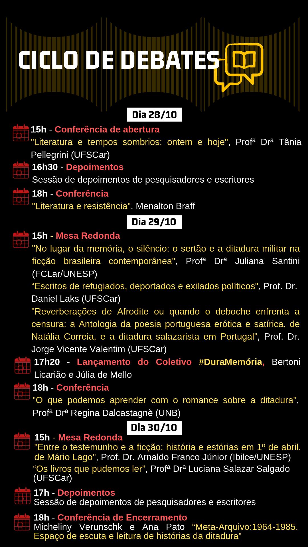 """I Ciclo de Debates """"1964 e suas representações: Artes e resistência"""""""